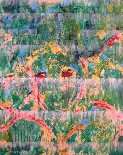Jürgen Haupt, AMAZONAS BLUES, Mischtechnik auf Leinwand, 100 x 80 cm, 2015