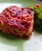 Delicioso arroz horneado con carne
