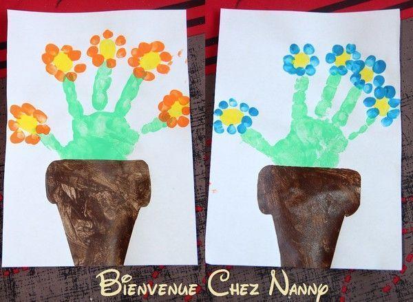 fleurs en pot : empreintes.