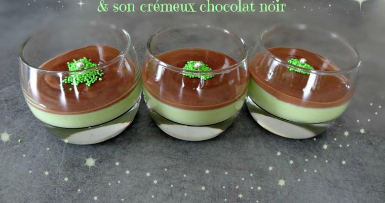 Panna cotta pistache et son crémeux chocolat noir