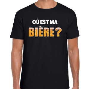 Ou est ma biere fun shirt zwart voor heren drank thema