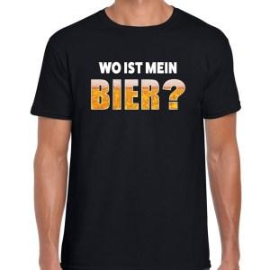 Wo ist mein bier fun shirt zwart voor heren drank thema