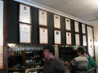 beers on tap above bar