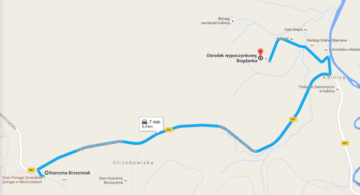 Bogdanka_Kalnica_Bieszczady_mapa