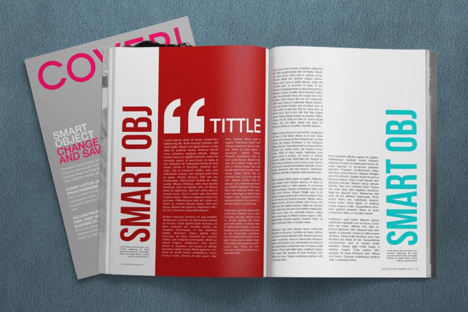 Mockup av magasin med tekst og apekatt