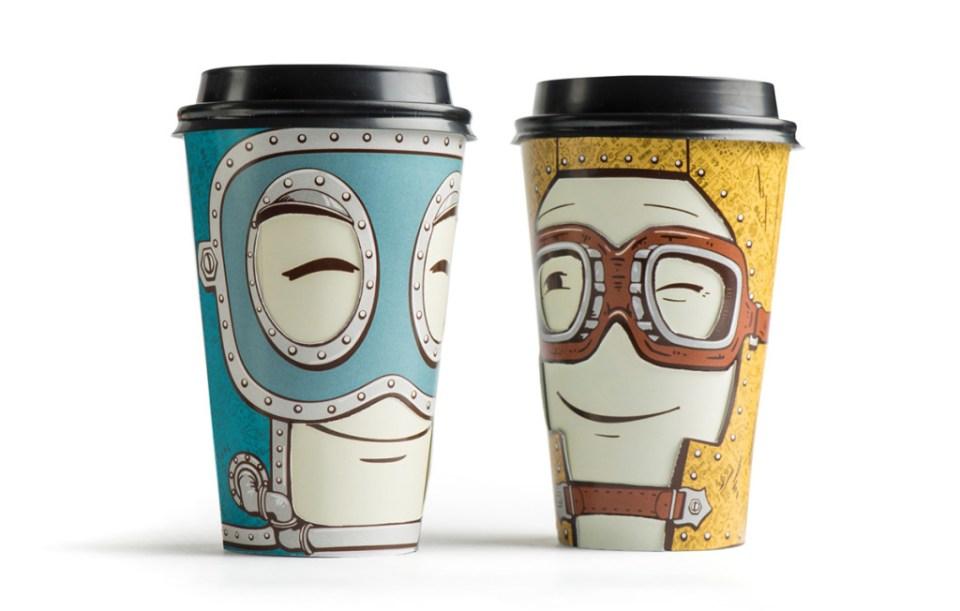 to kaffekopper med ansikt