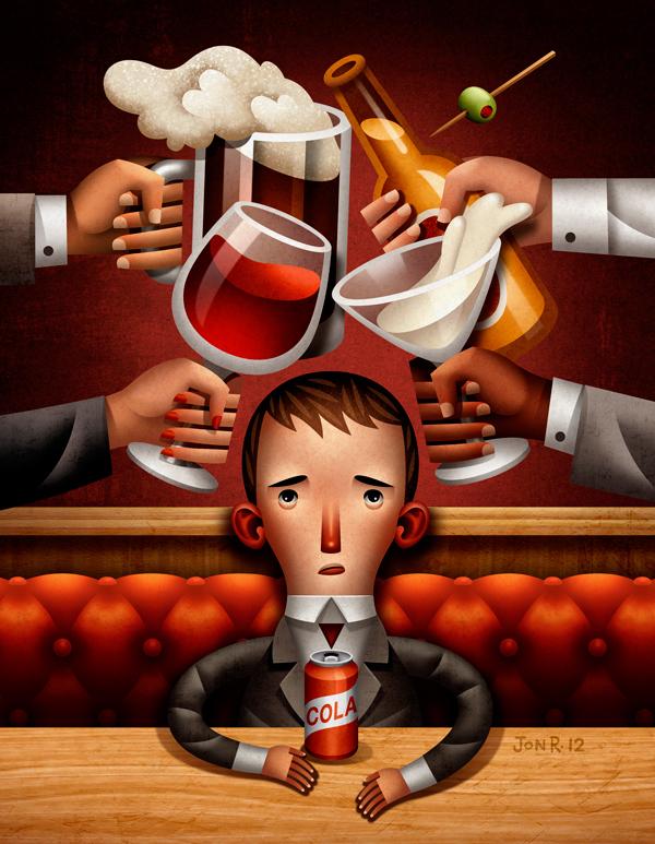 alkohol og mann med cola boks