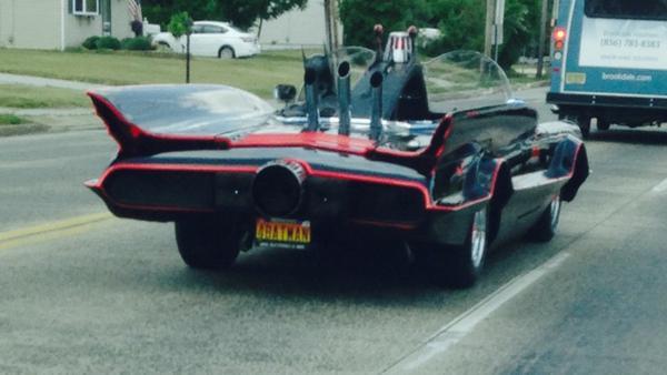 Photo taken by Glenn's big sister as Batman cruised through South Jersey earlier this week.