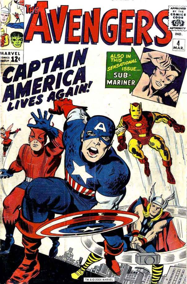 Cover of The Avengers #4, 1964. Art by Jack Kirby.