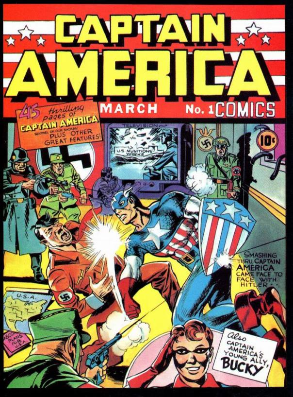 Cover for Captain America Comics #1, cover date March 1941 (released in December 1940). Art by Jack Kirby