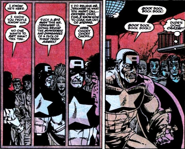 Yeah, this happened. Panels from Captain America #375 (1990), Mark Gruenwald (w), Ron Lim (a).