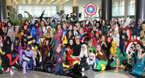 Stan Lee and Marvel comic book characters