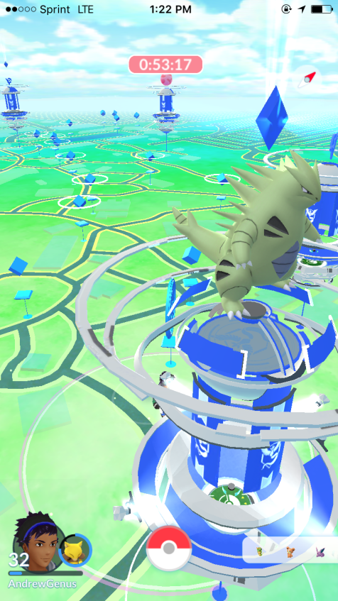 Pokémon GO at Kings Dominion - Tyranitar rules a Team Mystic gym