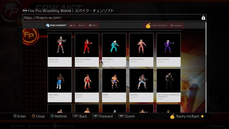 Fire Pro's website, where you can download or upload custom wrestlers and rings