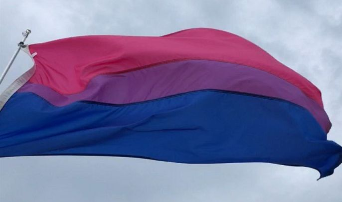 Bi Pride Flag at Gunnison Beach - Photo by Robin Renée
