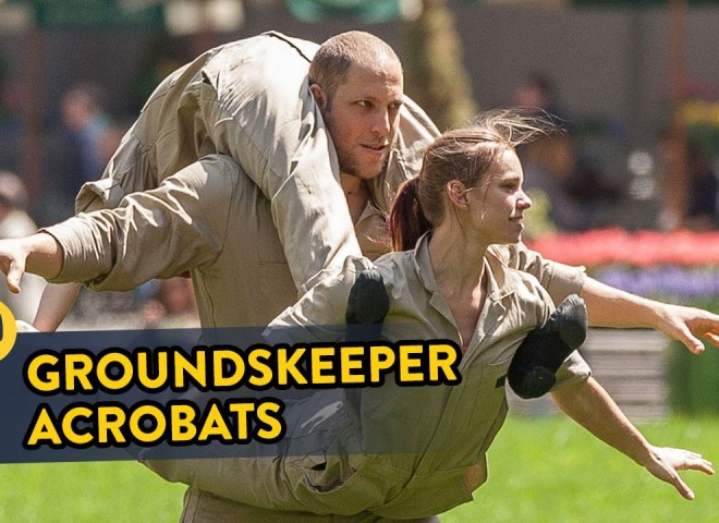 Groundskeepers Turn Into Acrobats