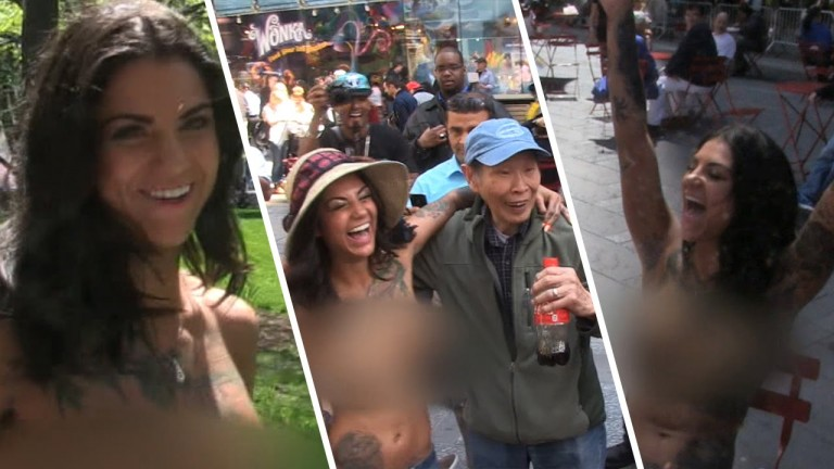 Porn Star Bonnie Rotten Took Over Manhattan Topless!
