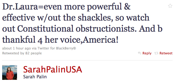 palin tweets supprt for schlessinger