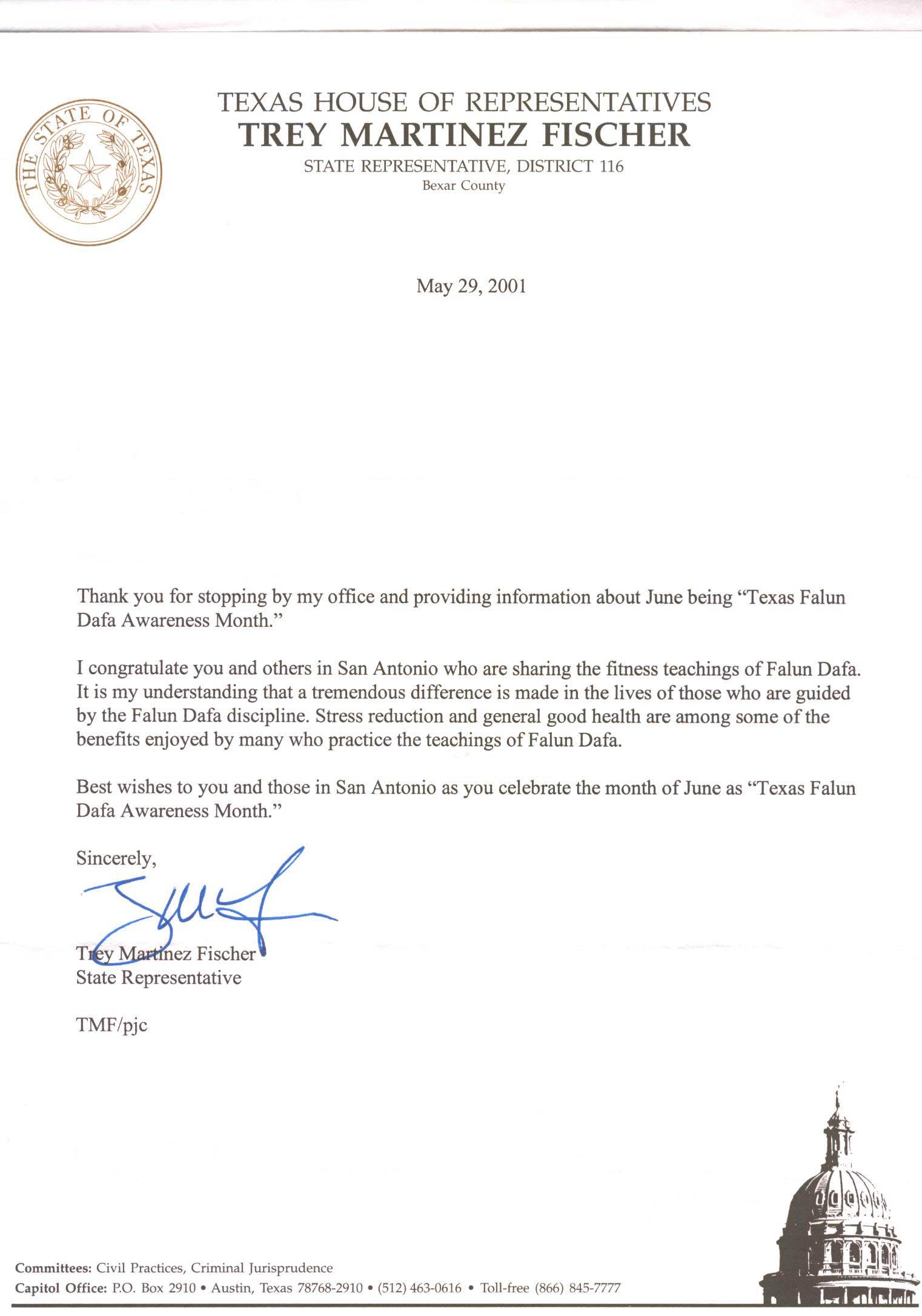 德克薩斯州 眾議院 宣布 法輪 大法 認知 月 2001 年 9 月 11 日