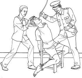 酷刑示意圖:摧殘性灌食
