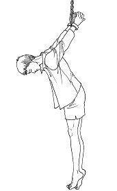 中共酷刑示意圖:吊背銬