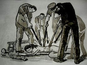 中共酷刑示意圖:多根電棒電擊