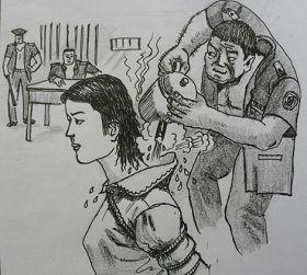 中共酷刑示意圖:熱水燙