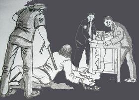 中共酷刑示意圖:銬地環並電擊