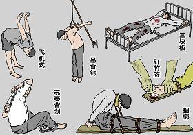 中共迫害法輪功學員不擇手段,使用酷刑至少達四十種以上,使用對像中,婦女和老人佔相當比例,令人髮指。