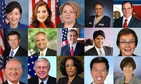 '一排左起:國會議員趙美心(JudyChu)、LorettaSanchez、LindaSanchez、KarenBass、加州參議員BobHuff;二排左起:國會議員JohnCampbell、加州眾議員EdHernandez、洛杉磯市長AntonioVillaraigosa、州參議員KevindeLeon、劉璇卿(CarolLiu);三排左起:國會議員HowardMcKeon、洛杉磯縣政委員MichaelAntonovich、洛杉磯市議員JanPerry、加州眾議員周本立(EdChau)、州參議員MimiWalters。'