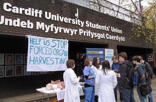 圖1-2:2013年11月28日,大赦國際組織卡迪夫大學分部成員在校園裏進行反強摘器官徵簽