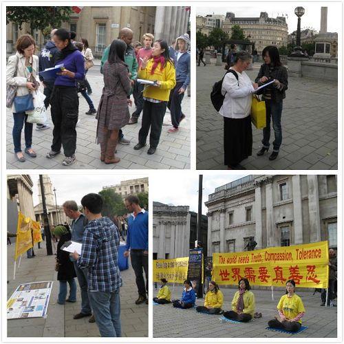 '英國法輪功學員在在鴿子廣場北台階煉功、講真相'