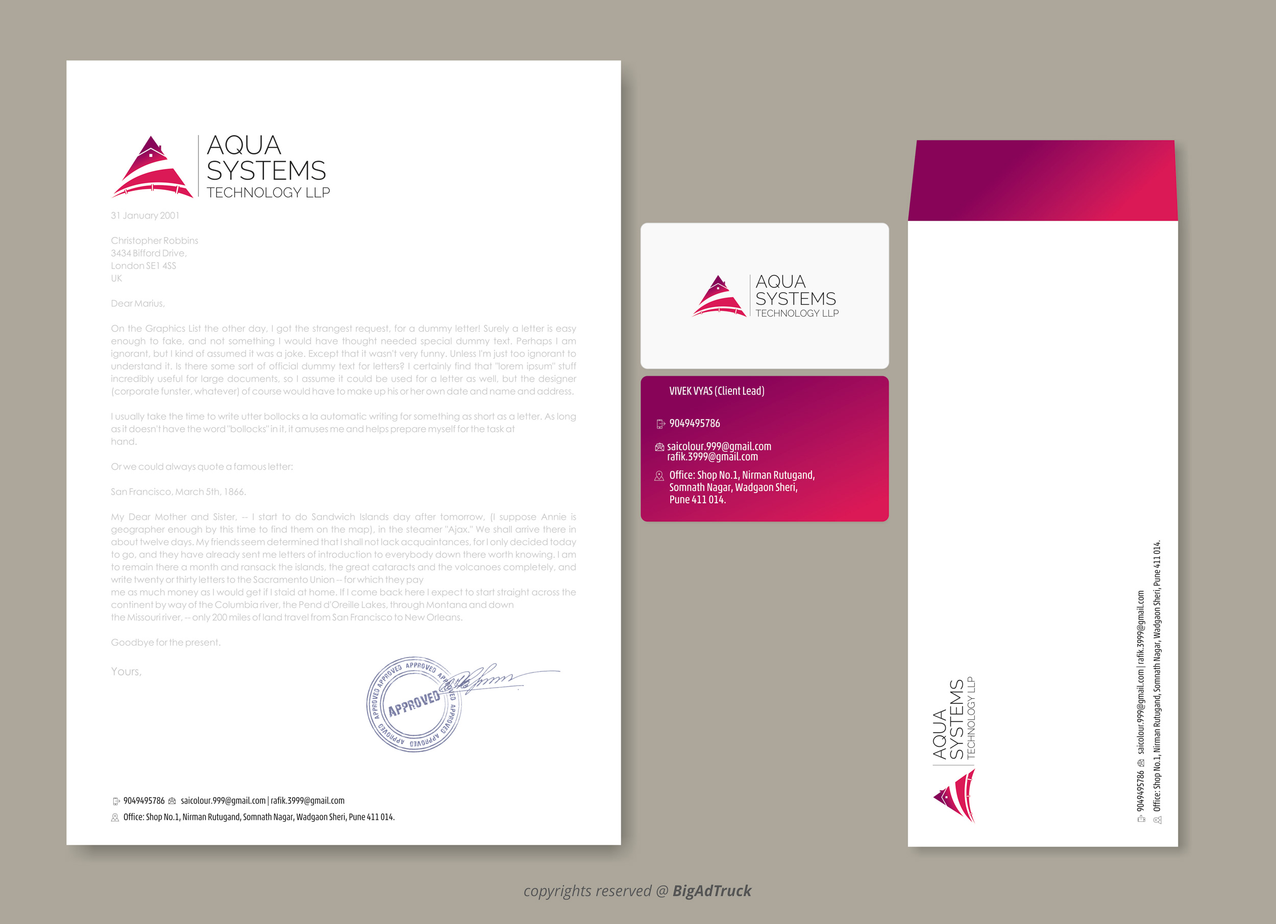Logo Designing Presentation with visiting card and Envelop