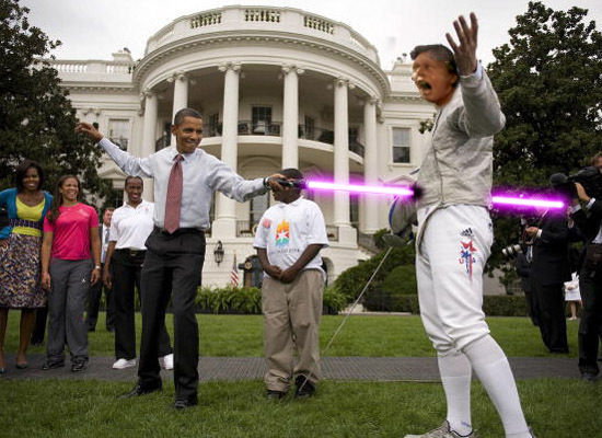 obama stabbing christians with lightsabers