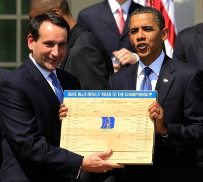 Secret White House photograph shows Obama and Coach K already taking photo ops for Duke's 2015 NCAA victory.  This is proof Obama has rigged the NCAA tournament.
