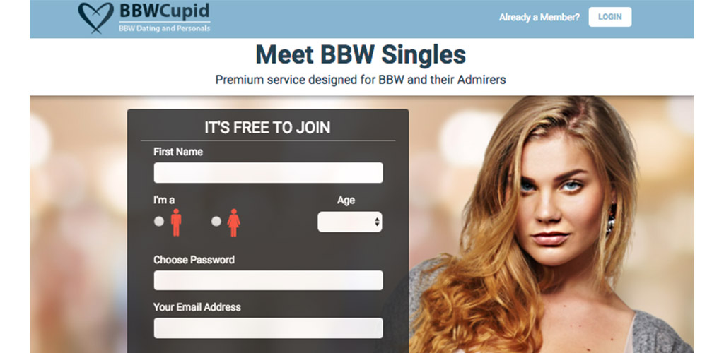Homepage of our BBWCupid review