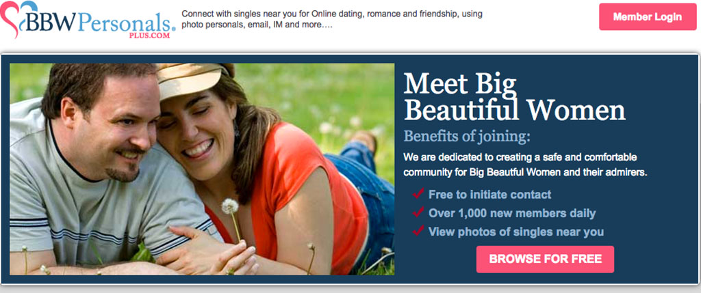 The first page you see on BBW Personals Plus