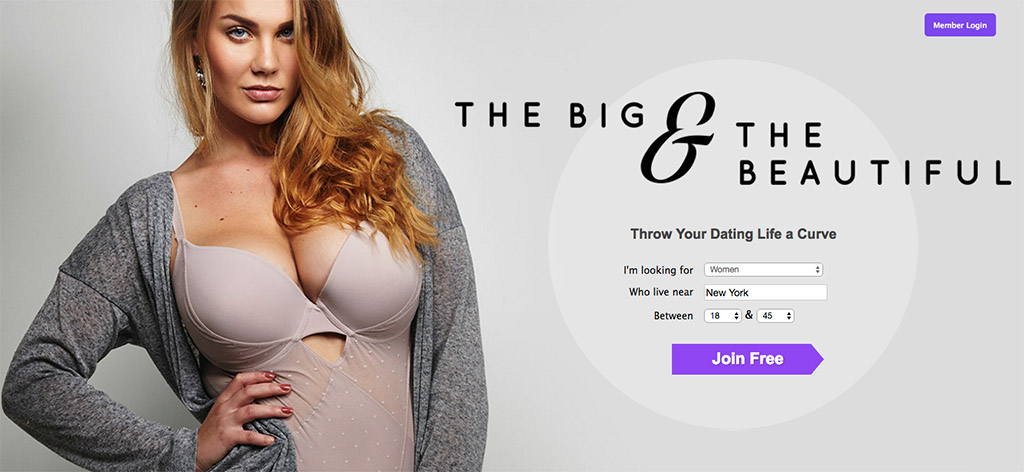 The homepage for The Big and the Beautiful dating site