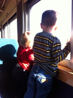 Looking out the window of passenger train from our Christmas train ride