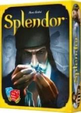 Opakowanie gry Splendor z ładną grafiką.