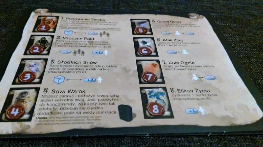 Focus na kartę pomocy gracza. Małe kompendium wiedzy magicznej w jednym miejscu.