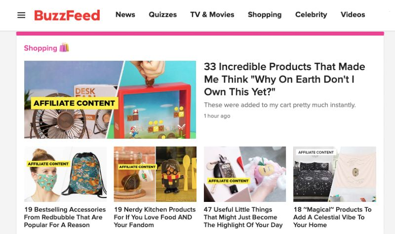 Buzzfeed screengrab shows 5 articles concurrently showing numerical titles.
