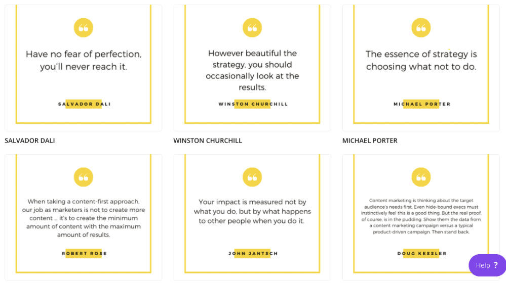 Canva templates show quotes from different professionals.