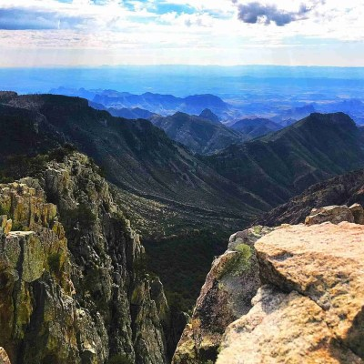 Viewing the Chisos Mountains from Emory Peak