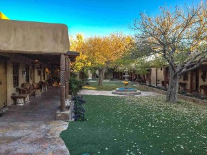 courtyard of Gage Hotel in Marathon TExas, these are additional rooms outside the main building