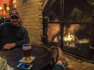 White Buffalo in Marathon Texas enjoying a drink after a long day by the fire