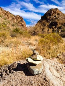 a cairn leading the way on the upper burro mesa pour off trail