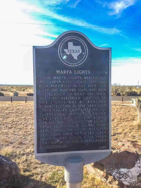 Big Bend Marfa Lights SIgn