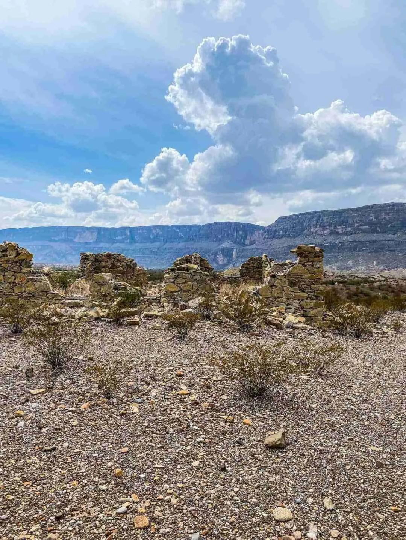 ruins of terlinga abajo in big bend with santa elena in background