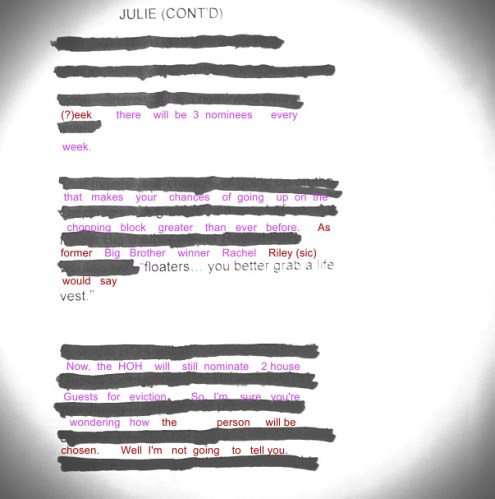 Big Brother 2013 Spoilers - Julie Chen Script